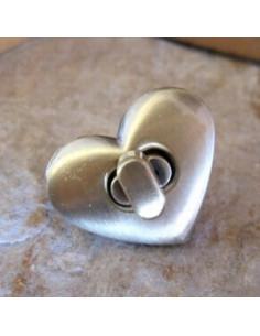 Fermoir pour sac - coeur - bronze