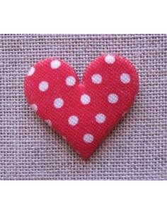 Coeur décoratif rouge à pois blancs