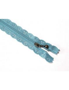 Fermeture éclair dentelle 20 cm - bleu