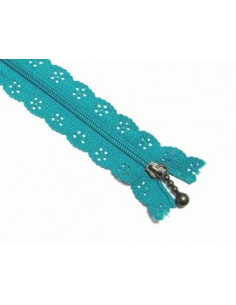 Fermeture éclair dentelle 20 cm - bleu turquoise