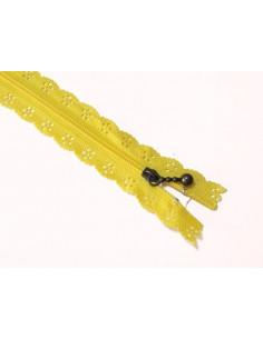 Fermeture éclair dentelle 20 cm - jaune