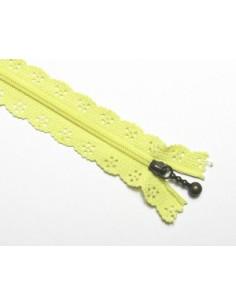 Fermeture éclair dentelle 20 cm - jaune clair
