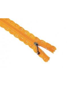 Fermeture éclair dentelle 20 cm - orange