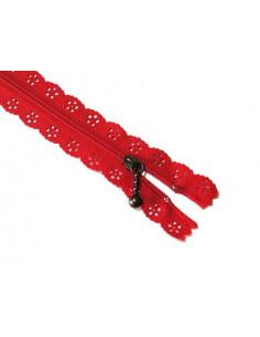 Fermeture éclair dentelle 20 cm - rouge
