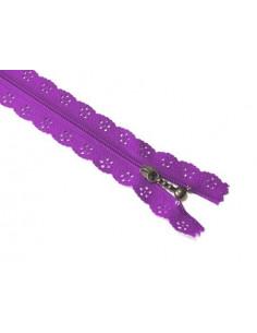 Fermeture éclair dentelle 20 cm - violet