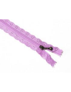 Fermeture éclair dentelle 20 cm - violet clair