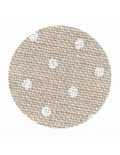 Toile de lin Zweigart Belfast coloris 5379 - Pois blancs