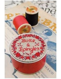 Sajou - Boîte à broder Boutons/épingles rouge