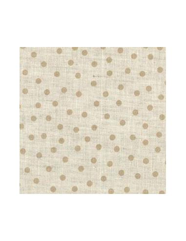 tissu lin imprim naturel pois beiges broderie passion. Black Bedroom Furniture Sets. Home Design Ideas