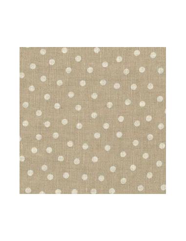 tissu lin imprim beige pois naturels broderie passion. Black Bedroom Furniture Sets. Home Design Ideas