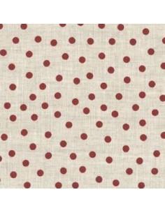 Tissu - Lin imprimé - naturel à pois rouges