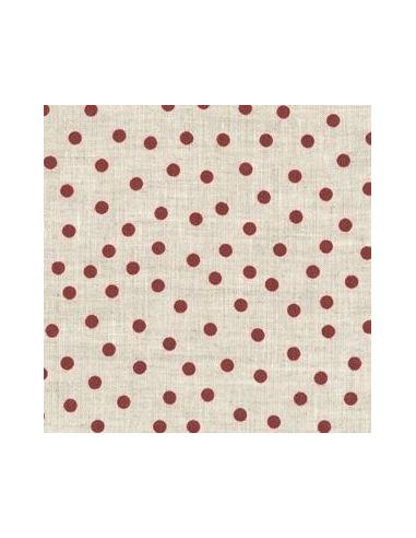 tissu lin imprim naturel pois rouges broderie passion. Black Bedroom Furniture Sets. Home Design Ideas