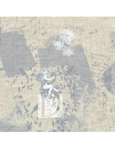 Tissu - Lin imprimé Madame Bijoux bleu-gris - 15-258