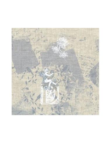 tissu lin imprim madame bijoux bleu gris 15 258 broderie passion. Black Bedroom Furniture Sets. Home Design Ideas