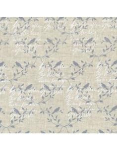 Tissu - Lin imprimé Madame Bijoux bleu-gris - 15-261