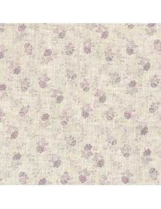 Tissu - Lin imprimé Madame Bijoux parme - 15-266