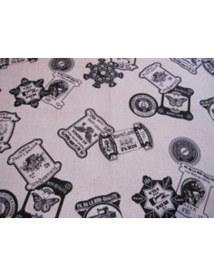 Tissu japonais lin/coton imprimé - Cartonnette - noir