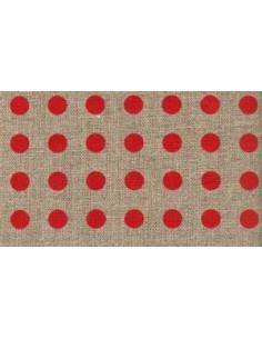 La Croix et La Manière - Tissu lin - gros pois rouges