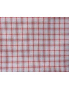 Coupon de tissu coton - carreaux moyens - rouge et beige
