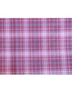 Coupon de tissu coton - grands carreaux - mauve, rose, bleu