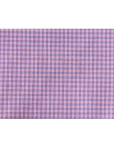 Coupon de tissu coton - petits carreaux - mauve, rose, bleu