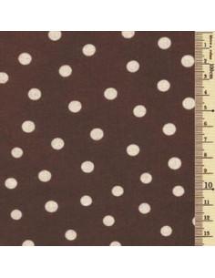 Tissu à pois écru sur brun