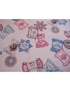 Tissu japonais lin/coton imprimé - Cartonnette - couleurs