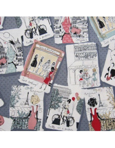 Tissu Patchwork - Cartes postales - Paris