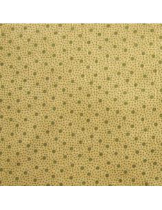 Tissu Patchwork - Pois kaki sur fond moutarde