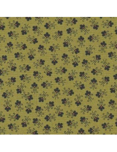 Tissu Patchwork - Petites fleurs sur fond vert