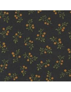 Tissu Patchwork - Feuillage sur fond noir