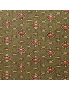 Tissu Patchwork - Petits motifs sur fond vert kaki