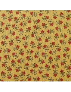 Tissu Patchwork - Petites fleurs sur fond jaune