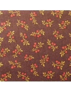 Tissu Patchwork - Feuillage sur fond brun