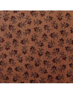 Tissu Patchwork - Petites fleurs sur fond brun