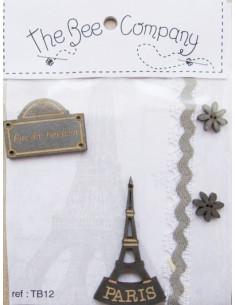 Lot de 4 boutons en bois - Paris