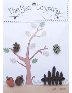 Lot de 5 boutons en bois - Barrière, glands et feuilles - brun, vert et orange
