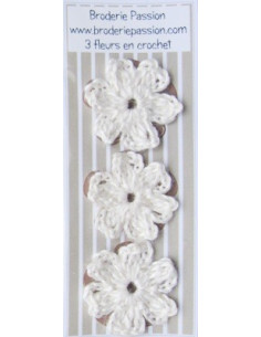 Lot de 3 fleurs en crochet - blanc cassé