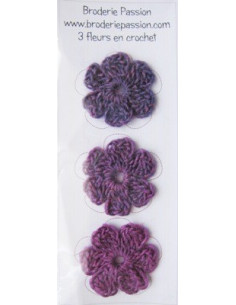 Lot de 3 fleurs en crochet - chiné prune/violet