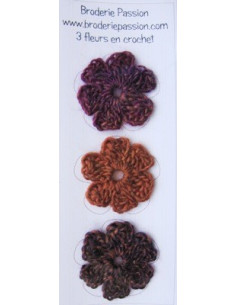 Lot de 3 fleurs en crochet - chiné prune, violet et orange