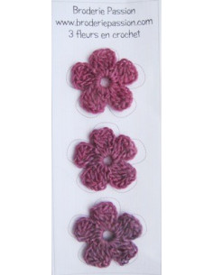 Lot de 3 fleurs en crochet - chiné rose/prune