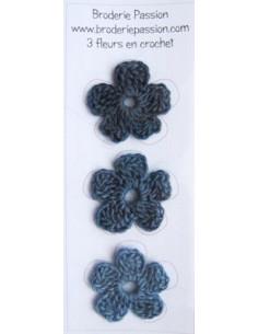 Lot de 3 fleurs en crochet - chiné bleu gris