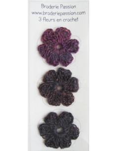 Lot de 3 fleurs en crochet - chiné prune et brun foncé
