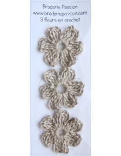 Lot de 3 fleurs en crochet - lin nature
