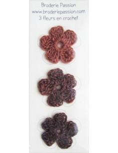 Lot de 3 fleurs en crochet - chiné brun orangé et brun foncé