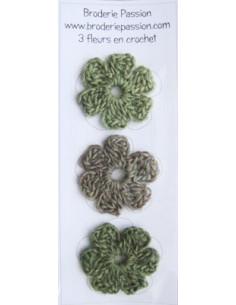 Lot de 3 fleurs en crochet - chiné vert et gris