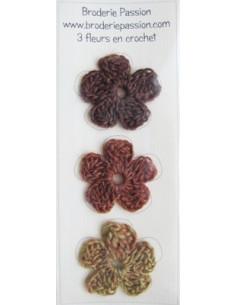 Lot de 3 fleurs en crochet - chiné brun orangé et vert
