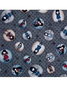 Tissu Patchwork - Simply Gorjuss - Cercles avec gorjuss sur fond gris