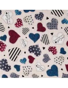 Tissu Patchwork - Simply Gorjuss - Coeurs multicolores sur fond crème