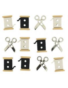 Lot de boutons Dress It Up - Sew Cute Spools / Scissors